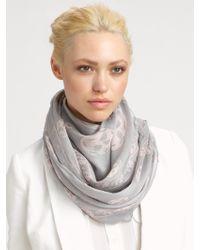 Alexander McQueen Classic Silk Chiffon Skull Scarf gray - Lyst