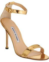 Manolo Blahnik Chaos Ankle-Strap Sandals gold - Lyst