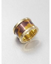 Michael Kors Tortoise-Print Barrel Ring - Lyst