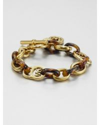 Michael Kors Tortoise-Print Link Bracelet - Lyst