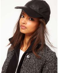 Asos Leather Cap - Lyst