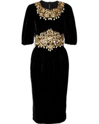 Dolce & Gabbana Embellished Velvet Dress - Lyst