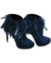 Nicholas Kirkwood Feather Boot Navy Suede - Lyst