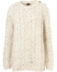 Topshop Knitted Button Cable Jumper white - Lyst
