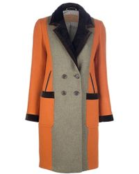 Etro Color Block Wool Coat - Lyst