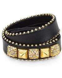 Juicy Couture Heavy Metal Skinny Leather Wrap Bracelet - Lyst