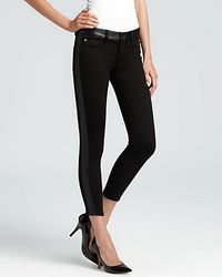 Super Hudson Jeans Leeloo Leather Color Block Skinny Crop - Lyst