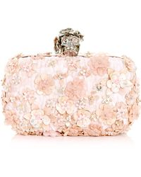 Alexander McQueen Flower Embroidered Clutch - Lyst