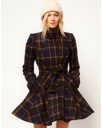 ASOS Collection Asos Check Fit and Flare Coat - Lyst