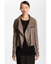 Rick Owens Quilted Seam Leather Jacket - Lyst
