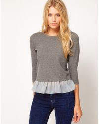 ASOS Collection Asos Jumper with Woven Peplum - Lyst