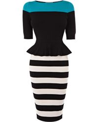 Karen Millen Peplum Knit Dress - Lyst