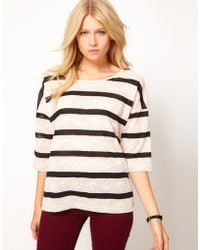 Oasis Long Sleeve Lace Stripe Tshirt - Lyst