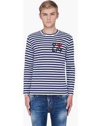 Play Comme Des Garçons Navy Striped Logo Print Jersey Shirt - Lyst