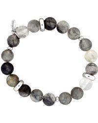 Azendi - Grey Quartz Stretch Bracelet - Lyst