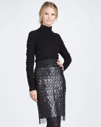 Milly Leather paillette Pencil Skirt black - Lyst