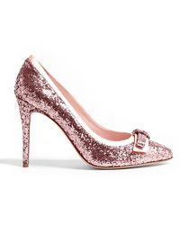 RED Valentino Pointed Toe Glitter Bow Stiletto - Lyst