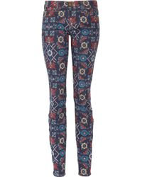 Current/Elliott The Ankle Printed Midrise Skinny Jeans - Lyst