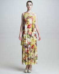 Jean Paul Gaultier Womens Tiered Floral Print Maxi Dress - Lyst