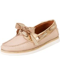 Lanvin Metallic Trimmed Boat Shoes - Lyst
