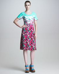 Marc Jacobs Scoopneck Floral Print Dress - Lyst