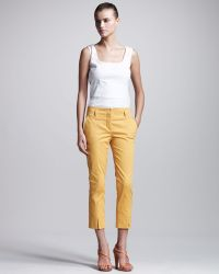 Philosophy di Alberta Ferretti Stretch Gabardine Cropped Pants - Lyst