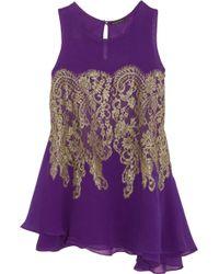 Rosamosario Chich Hunter Silkchiffon Pyjama Top - Purple