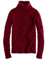 J.Crew Cambridge Cable Turtleneck Sweater - Lyst