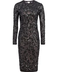 Reiss Sequin Embroidered Dress - Lyst