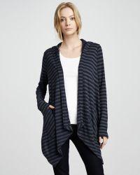 Splendid Striped Hooded Open Cardigan - Lyst