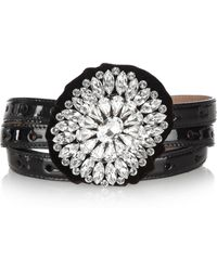 Dolce & Gabbana Crystal Rosetteembellished Patentleather Belt - Lyst