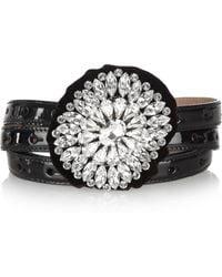 Dolce & Gabbana Crystal Rosetteembellished Patentleather Belt black - Lyst