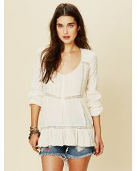 Free People Pintuck Bubble Sleeve Tunic - Lyst