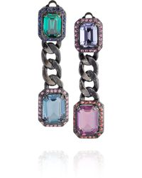 Lanvin Tutti Frutti Swarovski Crystal Clip Earrings silver - Lyst