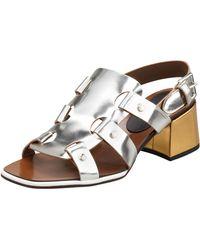 Marni Midheel Mirrored Leather Sandal - Lyst