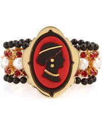 Miu Miu Crystalembellished Cameo Bracelet gold - Lyst
