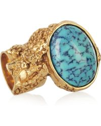 Saint Laurent Arty Goldplated Glass Ring gold - Lyst