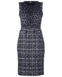 Dolce & Gabbana Fitted Leopard Print and Tweed Mix Dress - Lyst