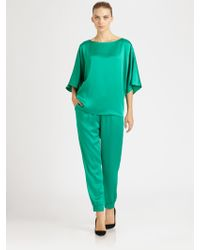 Michael Kors Satin Pajama Pants green - Lyst