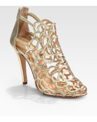 Oscar de la Renta Gladia Artistic Metallic Leather Pumps - Lyst