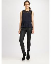 Rebecca Taylor Lace Peplum Top - Lyst