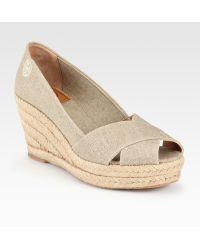 Tory Burch Filipa Metallic Linen Espadrille Wedge Sandals - Lyst