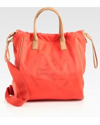 Tory Burch Perforated Nylon Drawstring Tote - Lyst