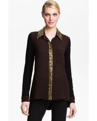 Alberto Makali Sequin Trim Shirt - Lyst