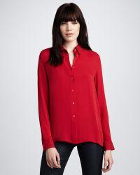 Theory Basic Silk Blouse Crimson - Lyst