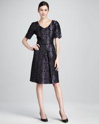 Bigio Collection - Floraljacquard Shortsleeve Dress - Lyst
