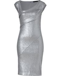 Donna Karan New York Quartz Sequined Cap Sleeve Draped Dress - Lyst