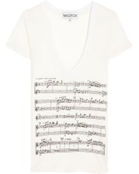 Wildfox Musical V-Neck Tee white - Lyst
