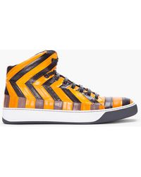 Lanvin Orange Eel Leather Midtop Tennis Shoe - Lyst