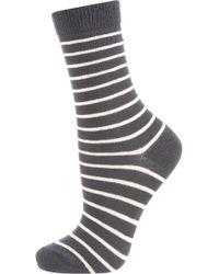 Topshop Charcoal Stripe Ankle Socks - Lyst
